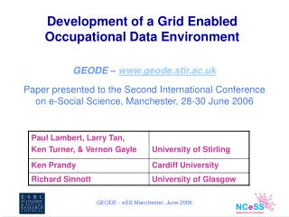 Development of a Grid Enabled Occupational Data Environment