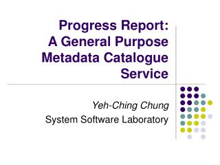 Progress Report: A General Purpose Metadata Catalogue Service