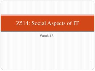Z 514 :  Social Aspects of IT
