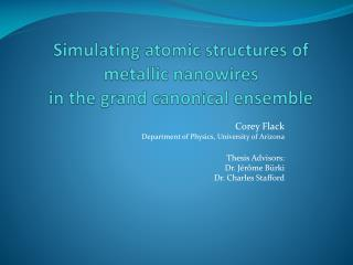 Simulating atomic structures of metallic  nanowires in the grand canonical ensemble