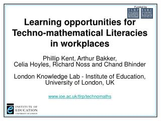 Learning opportunities for Techno-mathematical Literacies in workplaces