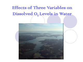 Effects of Three Variables on Dissolved O 2  Levels in Water