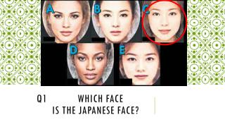 Q1        Which face              is the Japanese face?