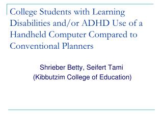 College Students with Learning Disabilities and