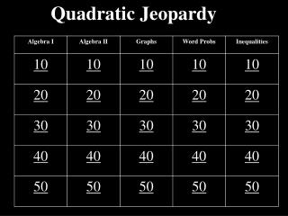 Quadratic Jeopardy