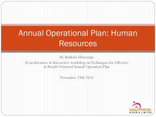 Annual Operational Plan: Human Resources