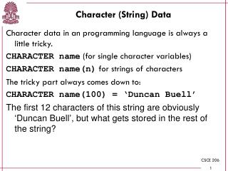 Character (String) Data