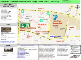 Emergency Evacuation Map—Wunhua Village, Guiren District, Tainan City