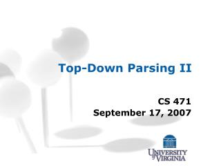 Top-Down Parsing II