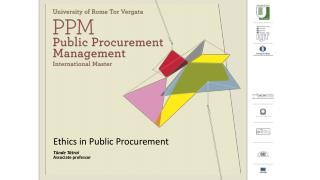 Ethics in  Public  Procurement Tünde Tátrai Associate  professor