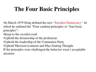 The Four  Basic  Principles