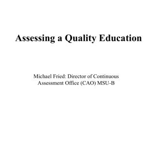 Assessing a Quality Education