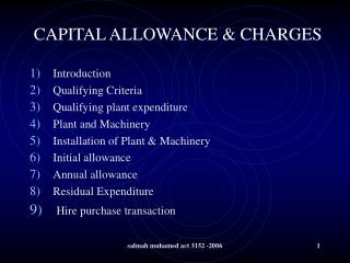 CAPITAL ALLOWANCE & CHARGES