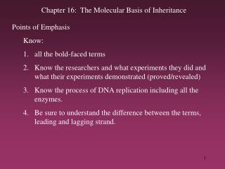 Chapter 16:  The Molecular Basis of Inheritance