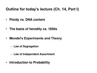 Outline for today's lecture (Ch. 14, Part I)