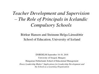 Teacher Development and Supervision  – The Role of Principals in Icelandic Compulsory Schools