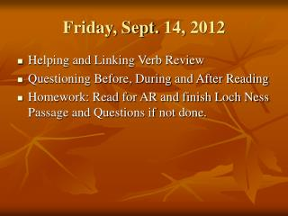 Friday, Sept. 14, 2012