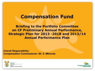 Overall Responsibility: Compensation Commissioner: Mr. S. Mkhonto