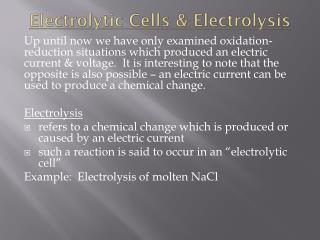 Electrolytic Cells & Electrolysis