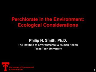 Perchlorate in the Environment: Ecological Considerations