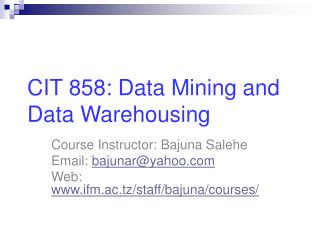 CIT 858: Data Mining and Data Warehousing