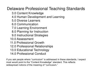 Delaware Professional Teaching Standards