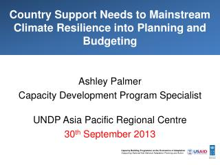 Country Support Needs to Mainstream Climate Resilience into Planning and Budgeting