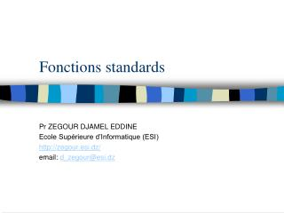 Fonctions standards