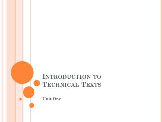 Introduction to  Technical  Text s