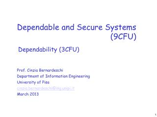 Dependable and Secure Systems (9CFU)