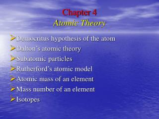 Chapter 4 Atomic Theory