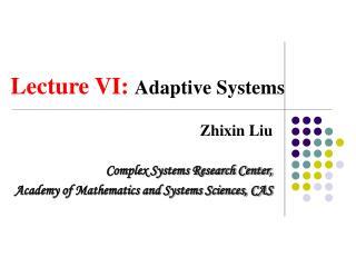 Lecture VI:  Adaptive Systems