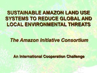 SUSTAINABLE AMAZON LAND USE SYSTEMS TO REDUCE GLOBAL AND LOCAL ENVIRONMENTAL THREATS
