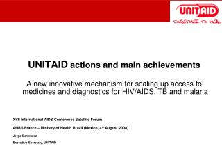 UNITAID  actions and main achievements
