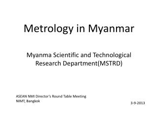 Metrology in Myanmar
