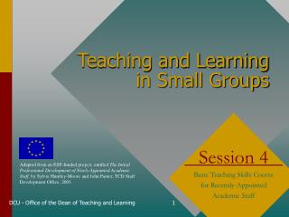 Teaching and Learning  in Small Groups
