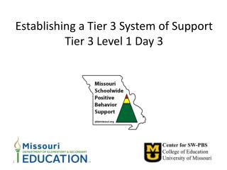 Establishing a Tier 3 System of Support Tier 3 Level 1 Day 3