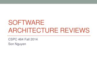Software Architecture Reviews