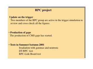 RPC  project Update on the trigger