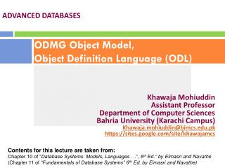 ODMG Object Model, Object Definition Language (ODL)