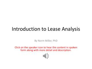 Introduction to Lease Analysis
