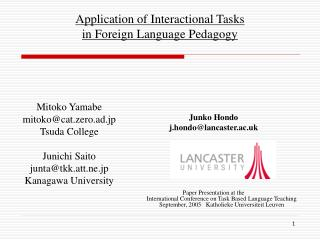 Application of Interactional Tasks  in Foreign Language Pedagogy
