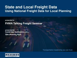 State and Local Freight Data