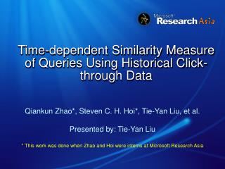 Time-dependent Similarity Measure of Queries Using Historical Click-through Data