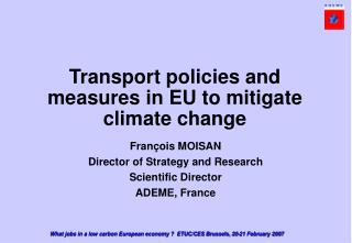 Transport policies and measures in EU to mitigate climate change