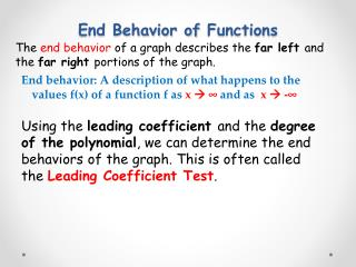 End Behavior of  Functions