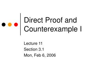 Direct Proof and Counterexample I