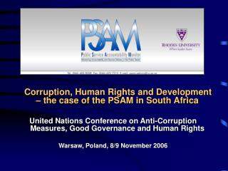 Corruption, Human Rights and Development – the case of the PSAM in South Africa