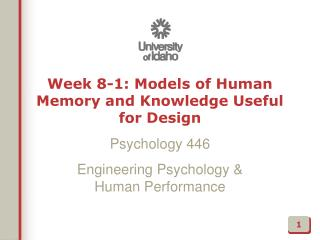 Week 8-1: Models of Human Memory and Knowledge Useful for Design