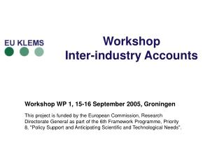 Workshop  Inter-industry Accounts